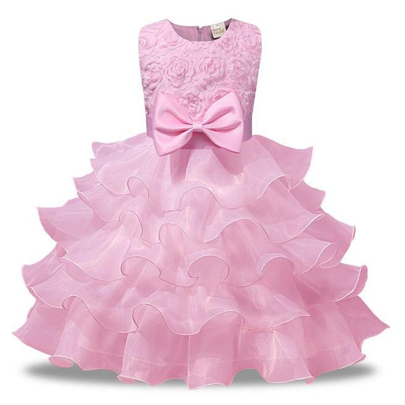 где купить toddler baby girl summer clothing First 2nd Birthday wedding Party clothes children floral princess dress with bow pink red blue по лучшей цене