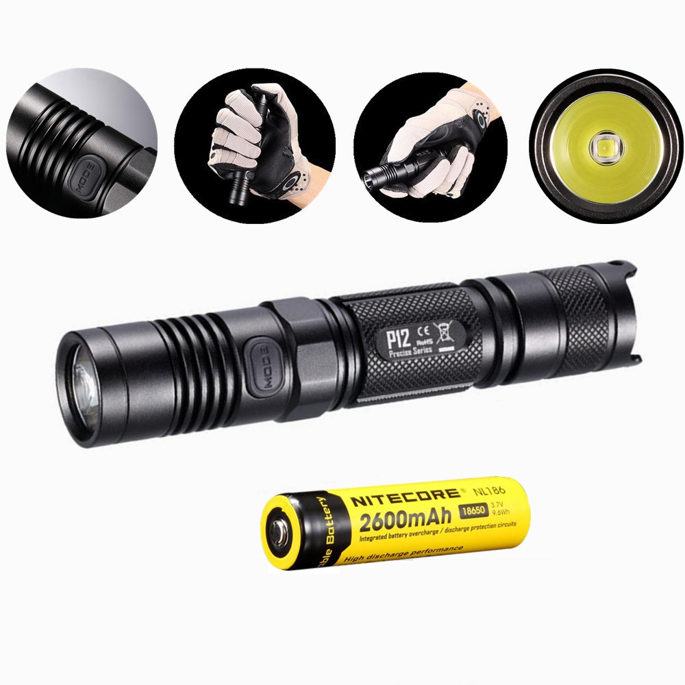 Nitecore P12 Tactical Flashlight with Nitecore NL186 18650 2600mah battery XM-L2 U2 Led 1000 Lumens Outdoor Camping Portable nitecore p12 tactical flashlight cree xm l2 u2 led 1000 lumens 4 mode 18650 outdoor camping pocket edc portable torch