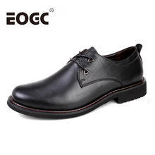 High quality Formal shoes Men Dress Shoes Genuine Leather Lace-Up Black Oxfords Business Men's flats Wedding Shoes Luxury Brand