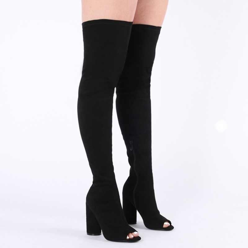 Mode daim noir élastique bottes longues Sexy Peep orteil femmes sur le genou femme chevalier bottes à talons carrés jambe mince bottes d'été