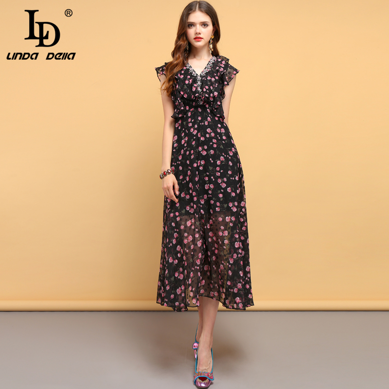 LD LINDA DELLA Fashion Designer Summer Dress Women s Sexy V Neck Ruffles Beading Floral Printed