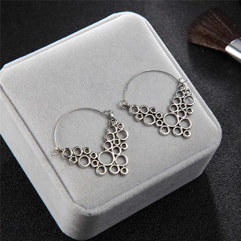 Elegan Wanita Fashion Kreatif Geometris Alloy Hollow Ukuran Bulat Anting-Anting Boucle D'oreille Femme 2019 Menggantung Anting-Anting Y1 #