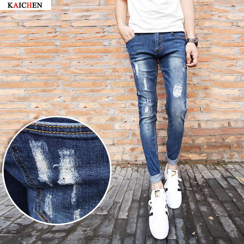 ФОТО New jeans male spring models feet pencil pants hole casual jeans, high quality cotton solid denim pants, patchwork ripped jeans