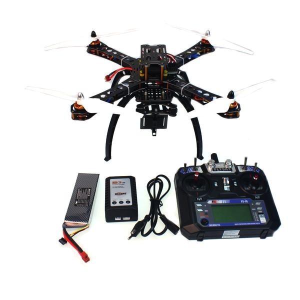 F14893-D Montado Transmissor 6CH RC Helicóptero com Controle de Vôo + FS-i6 APM2.8 + GPS Folding Antena Mount + Câmera PTZ