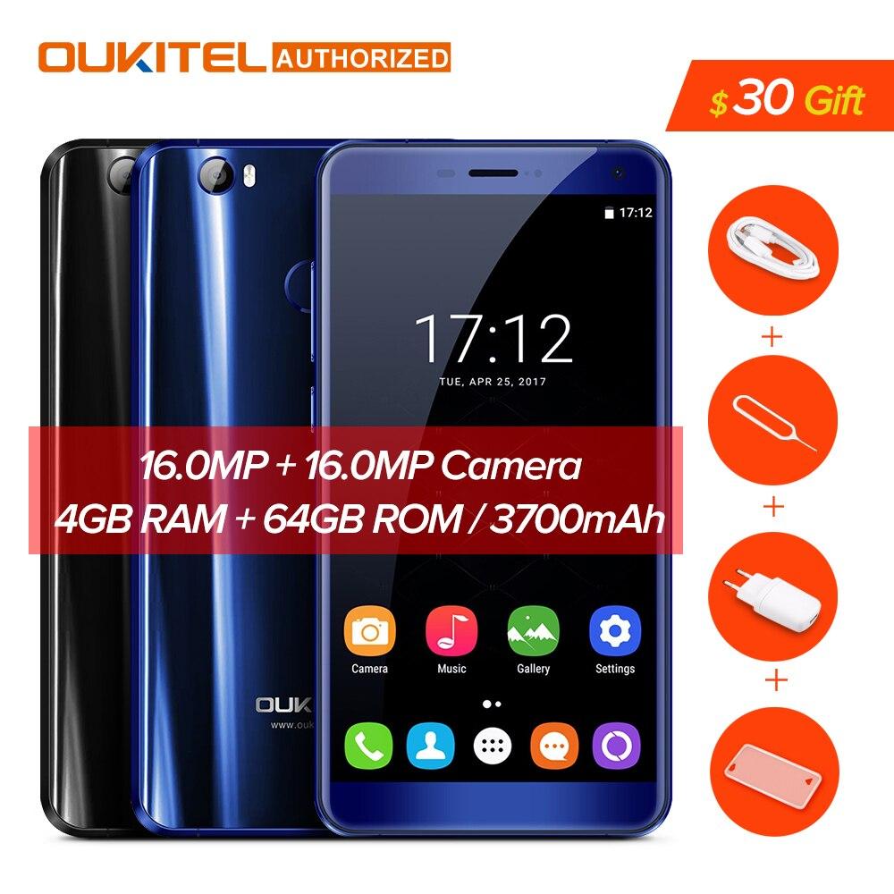U11 Oukitel Plus 3700 mAh Bateria Smartphone Android 7.0 MTK6750T Fingerprint Octa Núcleo Celular 4 GB RAM 64 GB Telefone Celular ROM