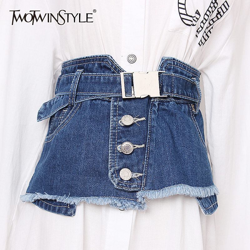 TWOTWINSTYLE Elegant Belt For Women High Waist Denim Patchwork Tassel Vintage Dresses Accessories Fashion 2019 Summer New