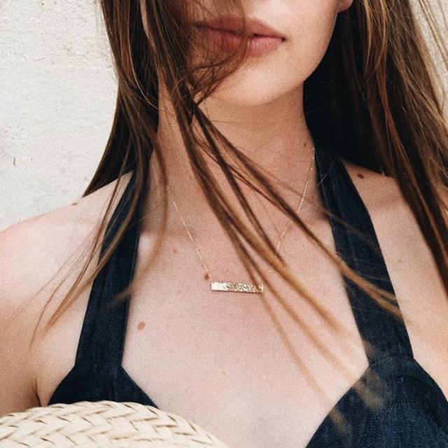Long Bar Necklace 100% 925 Silver Jewelry Custom Gold Choker Pendants   2
