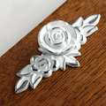 Rose Flower Dresser Knobs Drawer Knob Pulls Pull Handles Gold Silver Cream White Kitchen Cabinet Knobs French Ornate Decorative