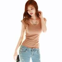Femme Tops 2018 Cotton Elastic Basic Korean O-Neck T Shirt Women T-Shirt Bow Fashion Short Sleeve Sexy Sashes Womens Tee Mujeres