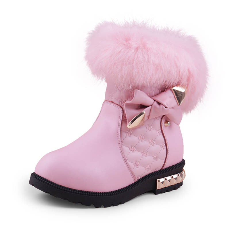 Mioigee 2018 New Princess Girls Boots Children Snow Boots for Girls Fur Cotton Winter Snow Boots Fashion Warm Shoes 26-37# 2018 new girls fur one snow boots winter 2018 new children s net red children s shoes parent child warm cotton shoes lace