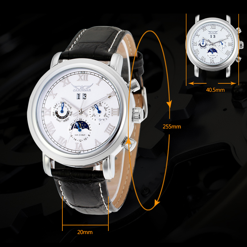 Men's Automatic Moon Phase Wrist Watch Black Color moon flac jeans