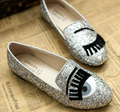 New Brand Casual Fashion Women Flats Oxford Shoes Loafers Eyes Pattern Sequins Gold Silver Free Shipping Plus Size 35-40