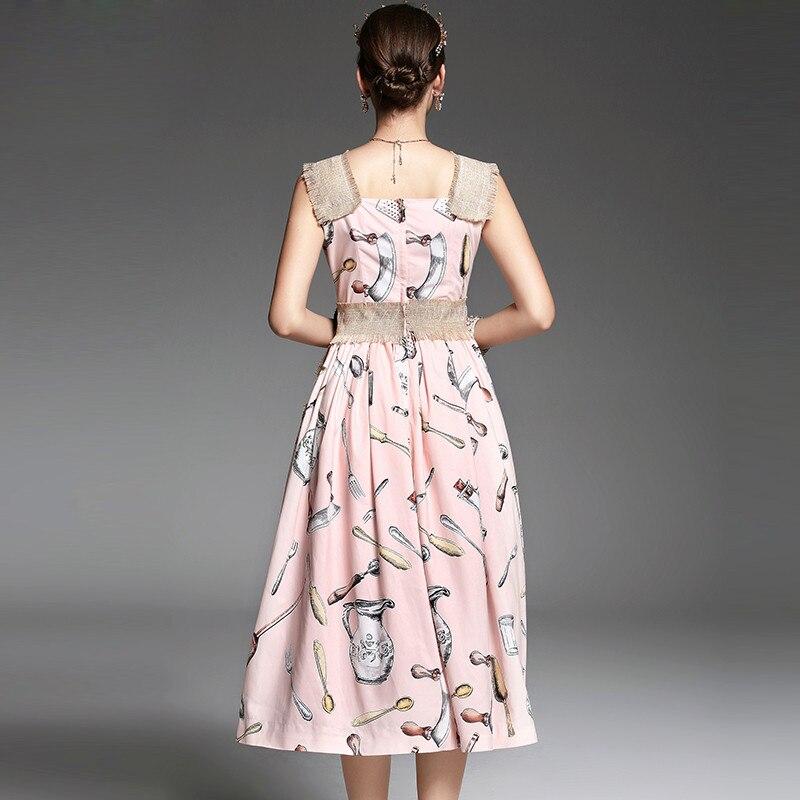 2017 wiosna lato nowy Runway suknia damska Spaghetti pasek kamizelka przycisk frezowanie bawełniane i lniane kieszenie w stylu Vintage Retro sukienka w Suknie od Odzież damska na  Grupa 3