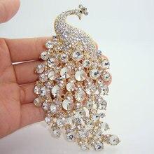 Broche Pin de fiesta para mujer, joyería de calidad en H, pavo real, animales, Diamante de imitación transparente, cristal, broche de joyería clásico para mujer