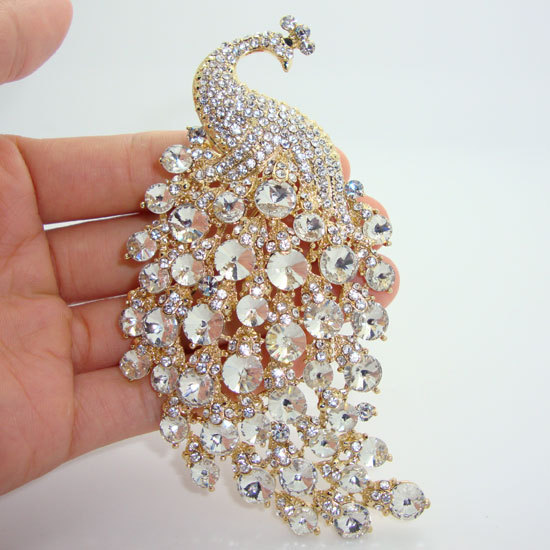 Fashion Party Brooch Pin Jewelry H quality Peacock Animals Clear Rhinestone Crystal Classic Jewelry Brooch For Woman-in Brooches from Jewelry & Accessories