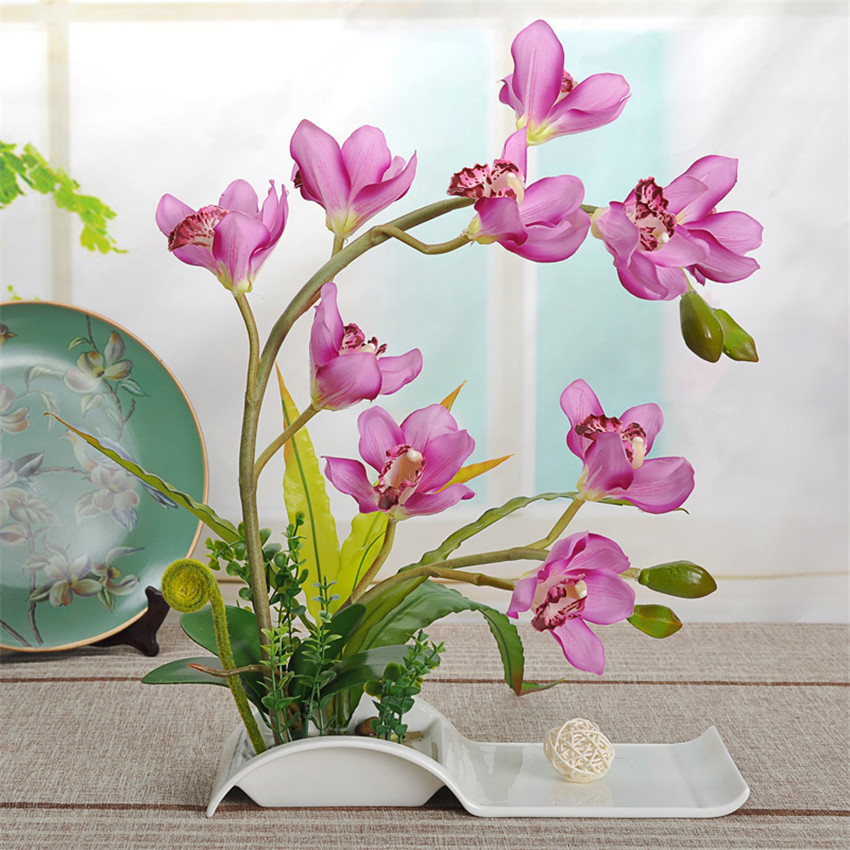 Decorative Flowers Artificial Bonsai With Ceramic Dish For