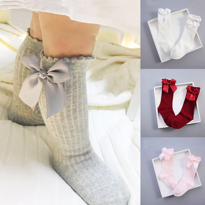 Winter Autumn Baby Girl Socks Meias Infantil Knee High Bows Princess Socks Winter Baby Socks Long Tube Vertical Striped Sokken