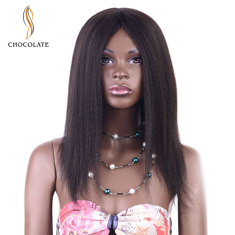 CHOCOLATE Italian Yaki Straight Hair Wig Brazilian Remy Human Hair Wig 125g 14 inch Three Color