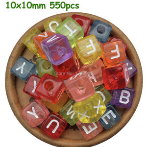 Image 2 - Letter Beads Transparent Colorful Beads 10MM 550pcs Acrylic Beads Square Beads Mix A Z Alphabet Beads for Jewelry making
