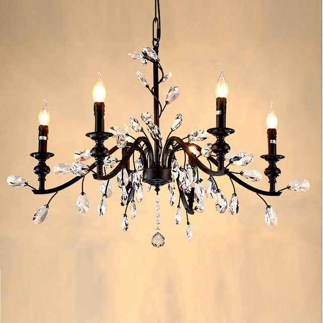 Wrought Iron Crystal Chandelier Light Handmade Bedroom Home Rustic Chandeliers French Antique Candelabra