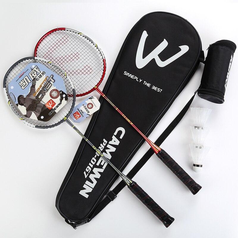 Raquette de Badminton CAMEWIN 1 paire en Fiber de carbone avec sac de transport et 3 volants pour Couples