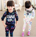 2015 Autumn and spring Kids girls clothing set Boys and Girls long-sleeved two-piece suit kid girls fashion printing sports suit