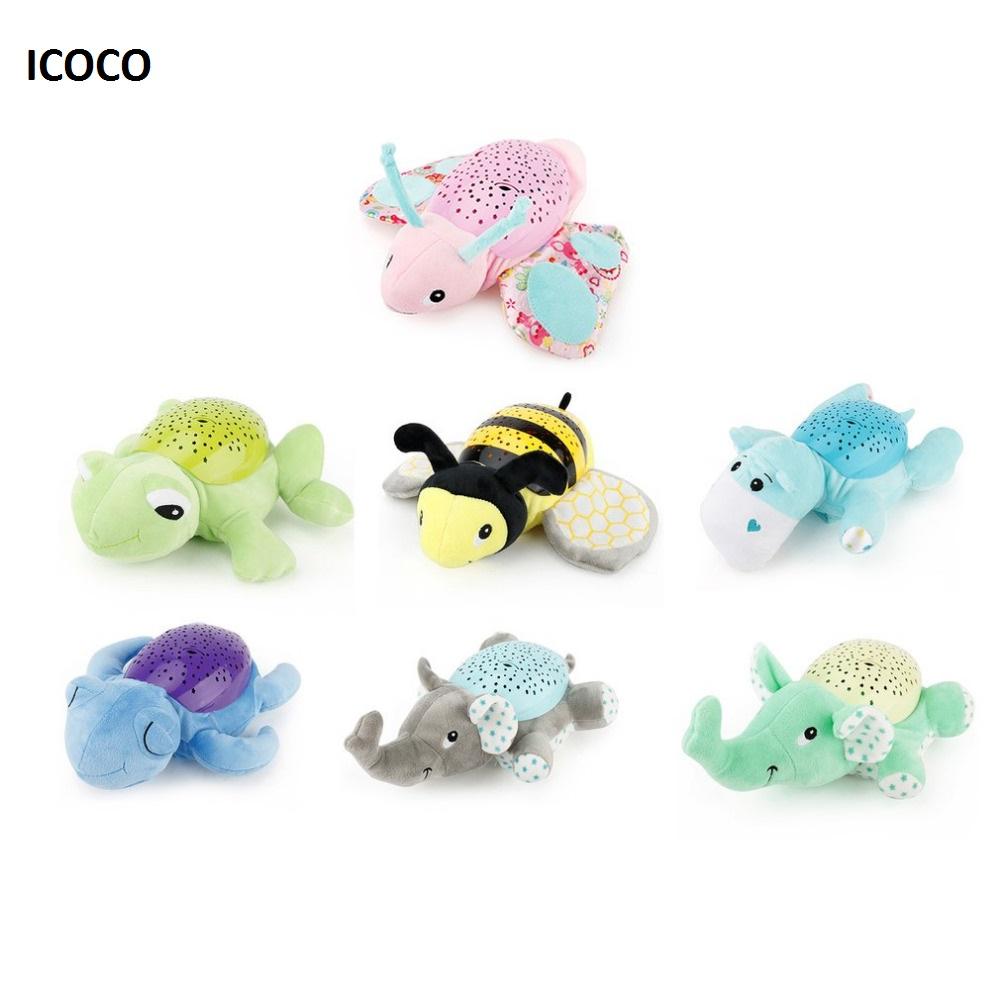 все цены на ICOCO Children Animal Projection Lamp Plush Toys Dreamy Starry Star Light Dolls Toys Projector With Music for Baby Infant Sleep