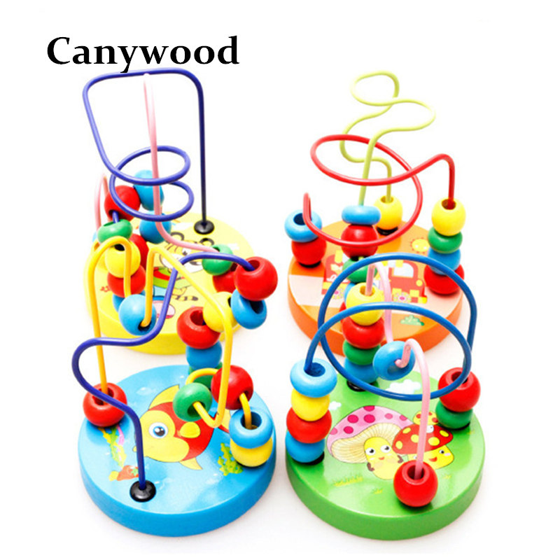 Colorful Wooden Mini Around Beads Kids Children Beads Maze Toy Kids E Toys Game Toys Free Shipping novelty wall demolish game cartoon cat demolish wall toy interactive game desk toy children learning educational toys for kids
