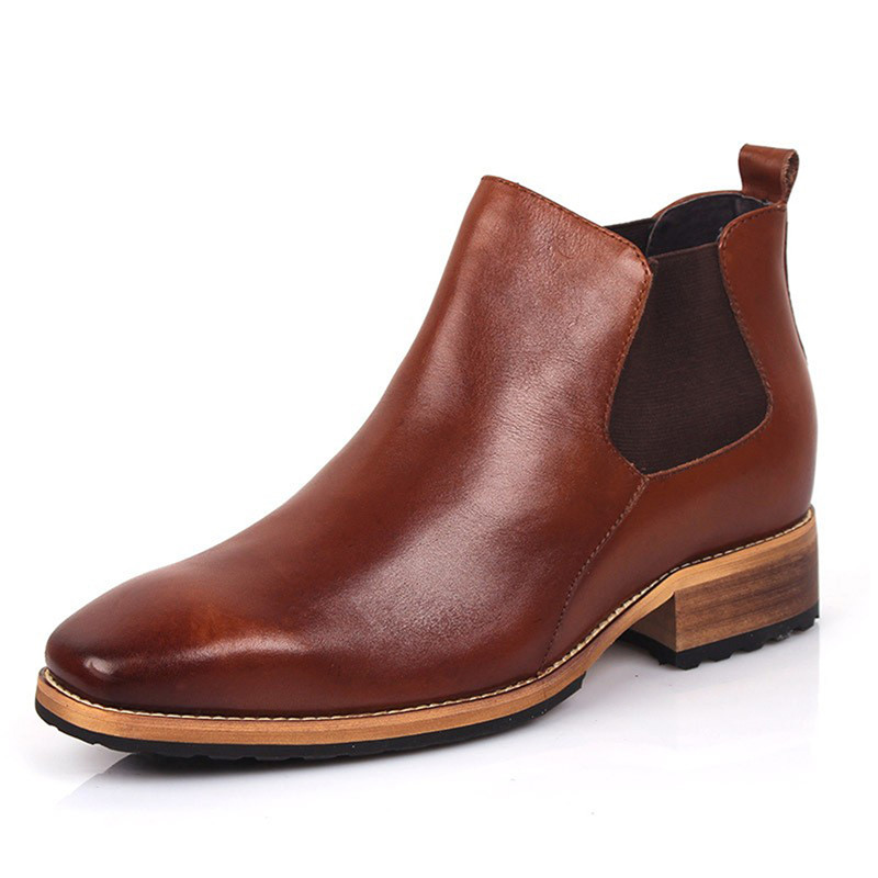 Brand New Men's Chelsea Boots Genuine Leather 3.15 Inches Taller Height Increasing Elevator Formal Business Boots Slip on genuine leather heightening elevated oxfords men s formal business boots elevator 3 15 inches