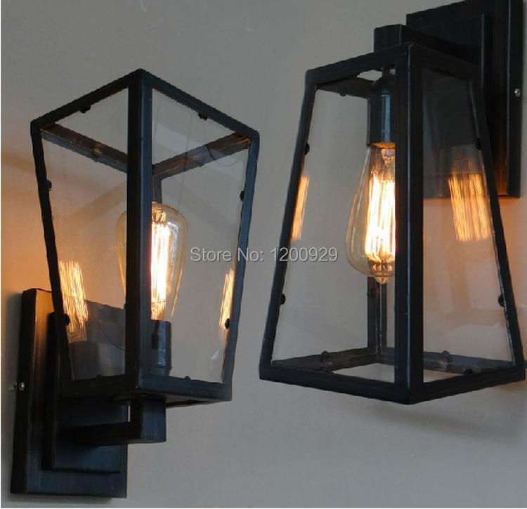 Free Shipping Loft RH Country Wall Lamp Vintage Glass Iron Creative Light Indoor Lighting for Aisle/Bedroom WLL-37 free shipping vintage wall lamp indoor