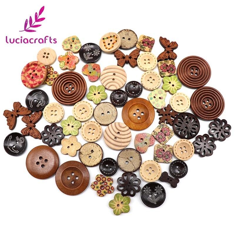 Lucia crafts Appr: 20 г смешанный произвольно деревянные пуговицы из смолы DIY Швейные плоские с оборота пуговицы, аксессуары для одежды E0102 - Цвет: style 2