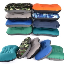 цена на Outdoor Camping Inflatable Pillow Ultralight Travel Pillows Backrest With Storage Pocket Portable Inflation Cushion