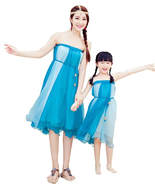 New Fashion Mother Daughter Dresses Clothes Strapless Dress And Skirt  Dual-Use Family Matching Outfits AF1693