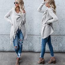 Women Knitted Warm Sweater Winter Cardigans Long Sleeve Tassel Fringe Shawl Poncho Oversized Cardigan