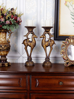 European style Retro Deer Candlestick Classical Home Dining Table Living Room Porch Luxury Handicraft Decorations