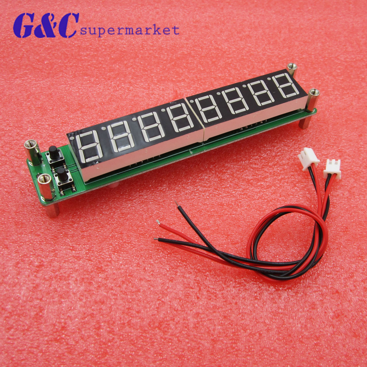 8 digits 0.56LED 0.1MHz ~ 60MHz 20MHz ~ 2.4GHz Digital Frequency Counter Meter Tester Cymometer RED LED Display RF Signal Input
