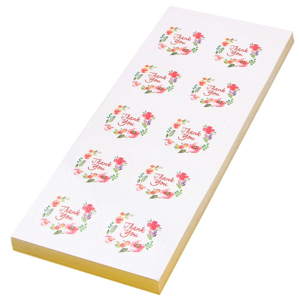 Купить с кэшбэком 100 Pcs/10 Sheet Flower Design Sticker Labels For Creative Paper Stickers Thank You Seals For Gifts Cake Baking Sealing