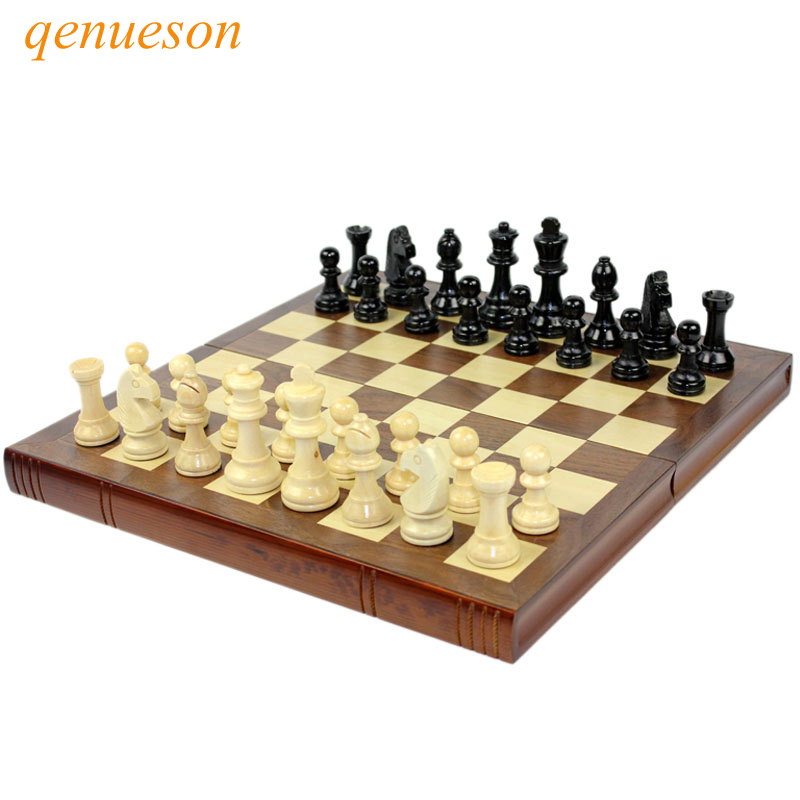 High Grade Coffee Lattice Books Shape Folding Wooden Table Box Chess Set King 75mm Wood Solid Chessman Board Games Children Gift