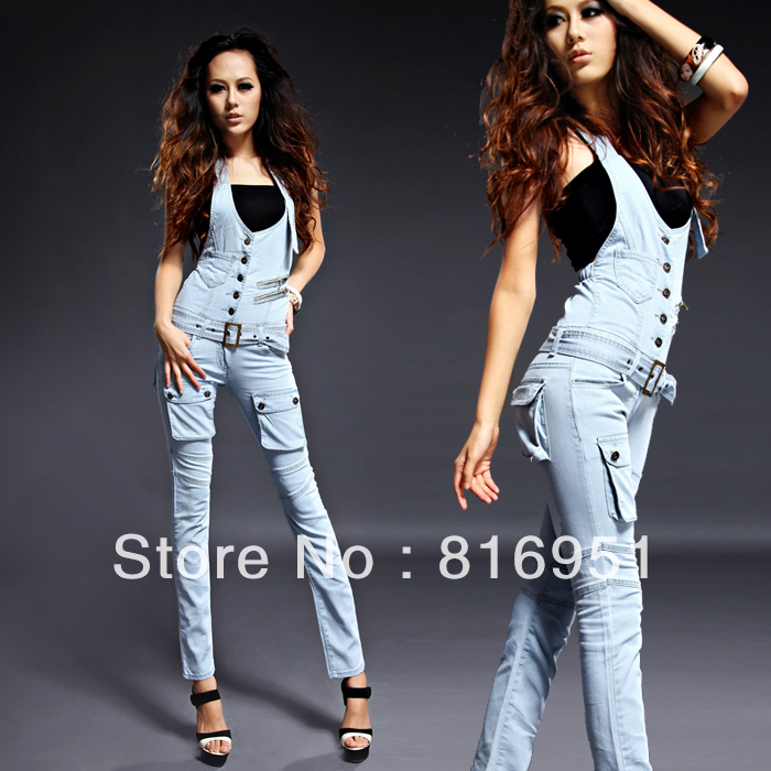 High Waist Women Jumpsuits And Rompers Skinny Denim Jumpsuits Women