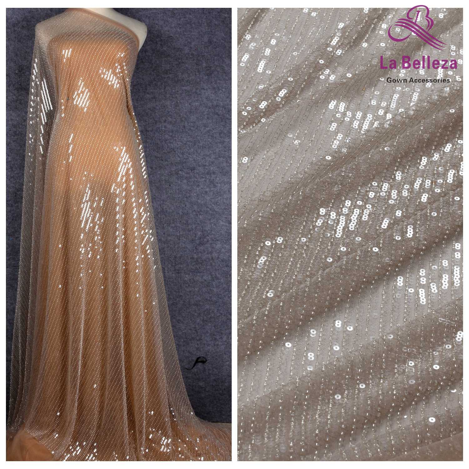 La Belleza 2019 New gray simple line, Light pink  beaded lace fabric beads with sequins  wedding gown dress lace fabric 1 yard