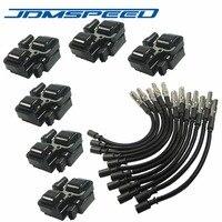 JDMSPEED Cor Preta Plug Fio Sets Com Bobinas de Ignição Por Centelha 6 Peças Se Encaixa Para Mercedes-Benz CL C CLK ML Classe