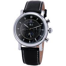 Winner Men Automatic Mechanical Watch Black Leather Strap Supersize Case Sub dials Business Vogue Box