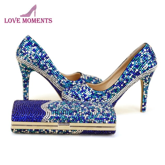 Blue Rhinestone Formal Dress Shoes with Clutch High Heel Crystal Stilettos Bridal Shoes Platforms Party Fashion Pumps with Bag