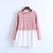 2018 Autumn Women Casual Colorblock Shirt Tops Tweed Multicolor Blouse Spring Round Neck Long Sleeve Shirt