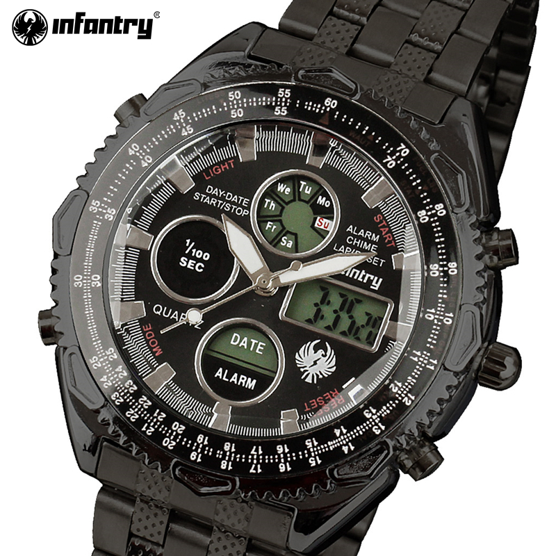 INFANTRY Men Army Military Full Steel Sports Watches Men's Quartz Analog Clock Male LED Display Wrist watch Relogio Masculino 2017 luxury brand men military sports watches men s quartz analog hour clock male stainless steel wrist watch relogio masculino