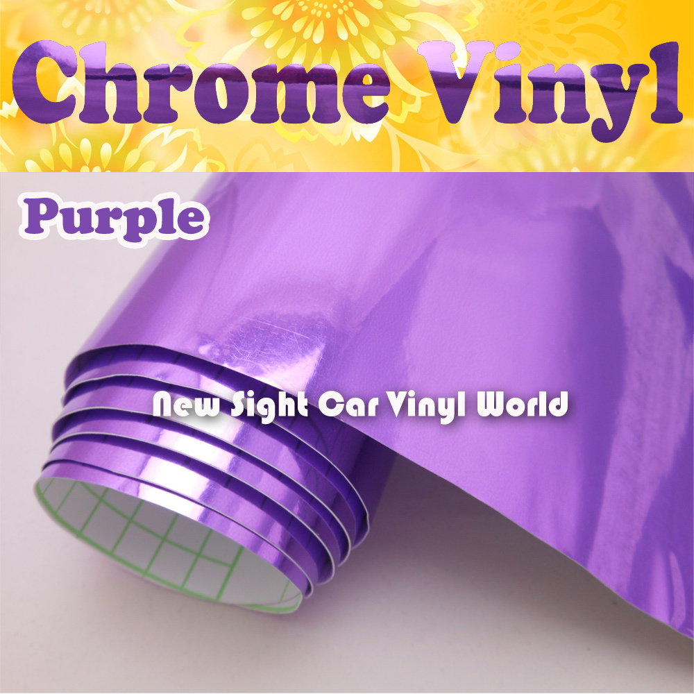 Haute Brillant Violet Chrome Film Vinyle D'enveloppe de Bulle D'air Libre Taille: 1.52*30 M/Rouleau