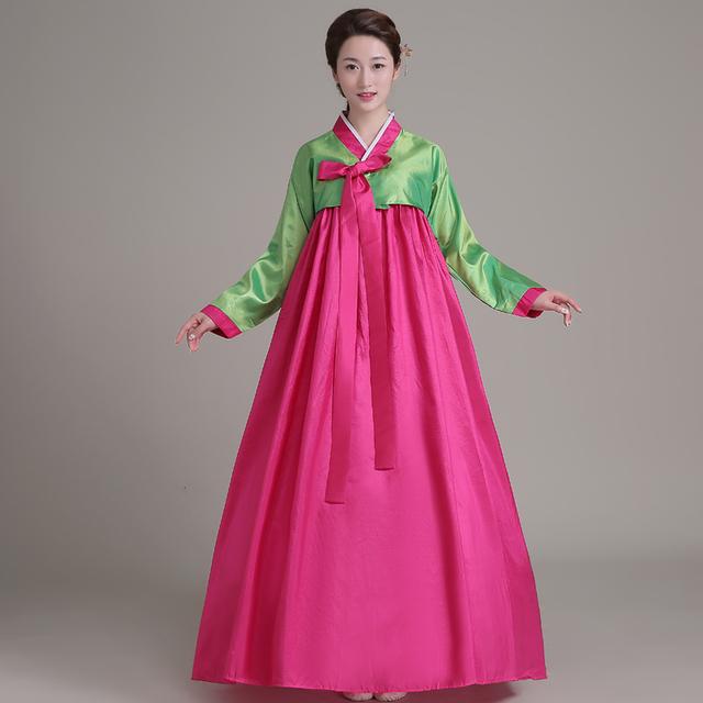 2016 nova mulher elegante Coreano hanbok Traje tradicional Chinês étnico roupas espetáculo de dança feminino tribunal vestido de cosplay