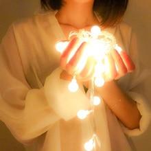Golyós lámpák kültéri 10M 100 LEDS Tündér karácsonyi világítás 220V EU / akkumulátor ünnep esküvői kerti díszítéssel