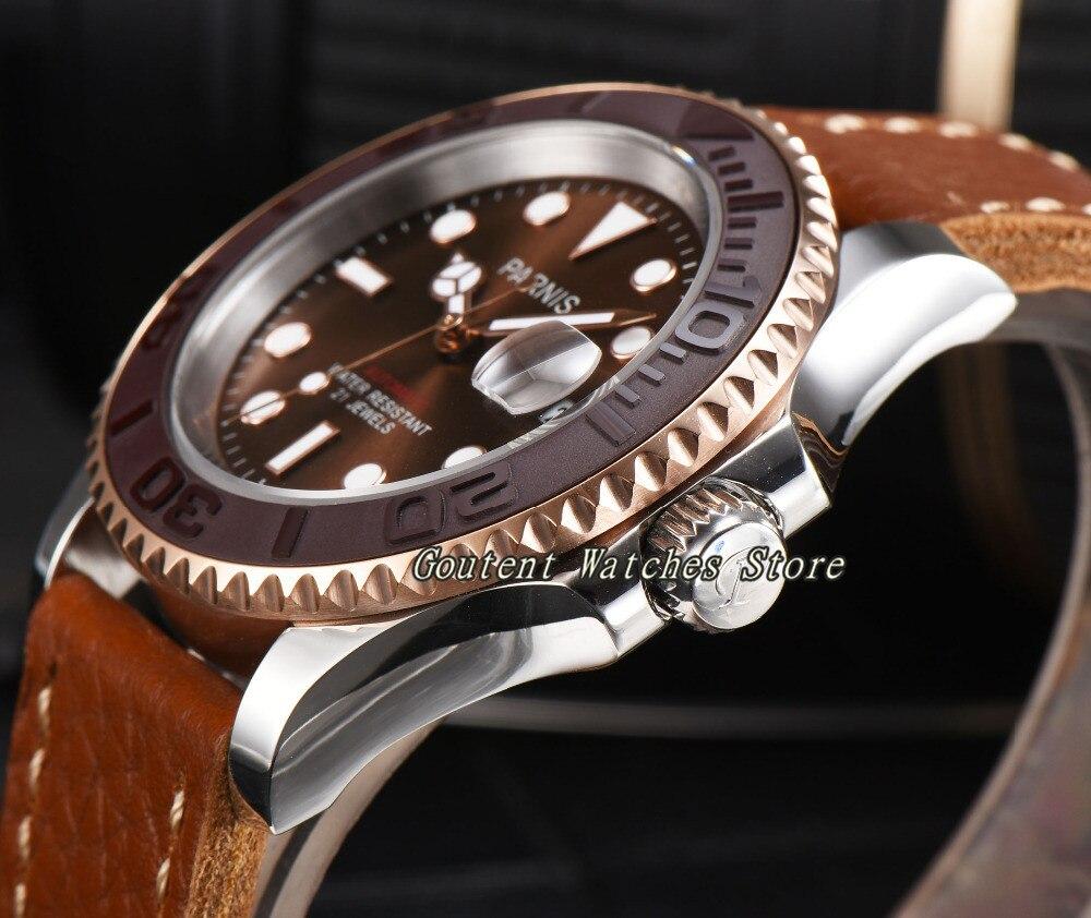 44mm Parnis Bruine wijzerplaat mannen horloges Saffier Glas Automatische Beweging Militaire Mannen Polshorloge-in Mechanische Horloges van Horloges op  Groep 3