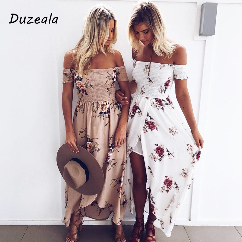 Active Boho Style Long Dress Women Off Shoulder Beach Summer Dresses Floral Print Vintage Chiffon White Maxi Dress Vestidos De Festa Dresses